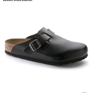 Birkenstock black oiled leather clogs 41